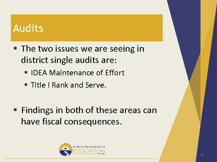 Audits § The two issues we are seeing in district single audits are: §