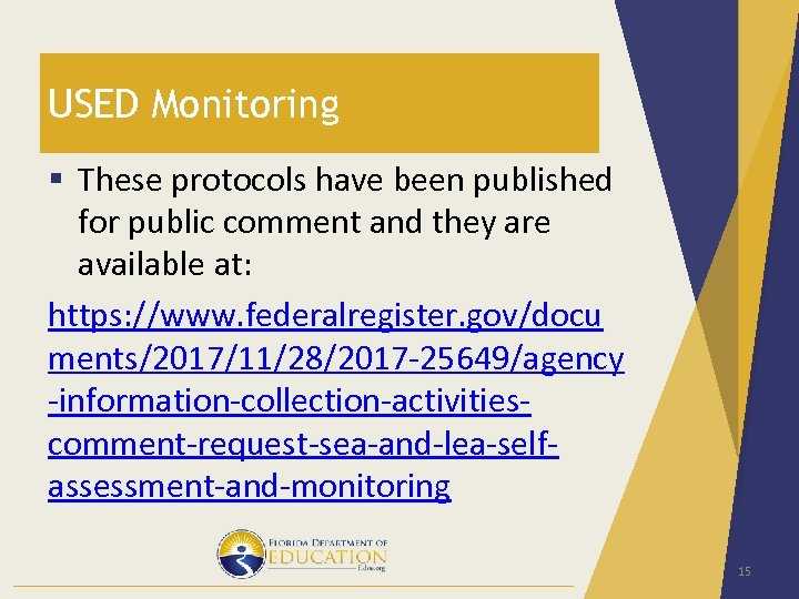 USED Monitoring § These protocols have been published for public comment and they are