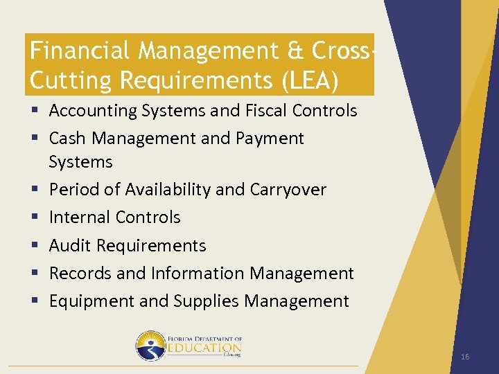 Financial Management & Cross. Cutting Requirements (LEA) § Accounting Systems and Fiscal Controls §