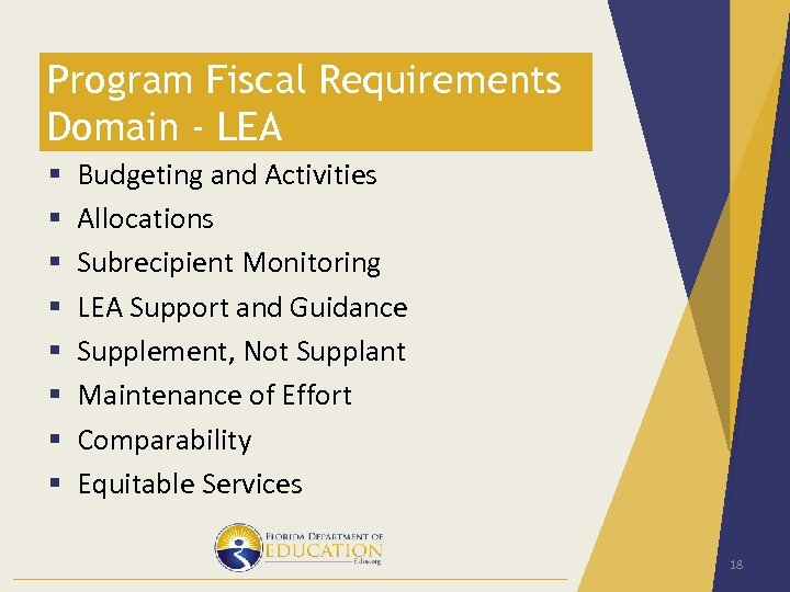 Program Fiscal Requirements Domain - LEA § § § § Budgeting and Activities Allocations