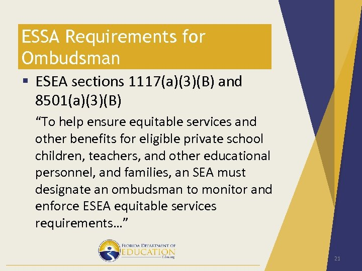 "ESSA Requirements for Ombudsman § ESEA sections 1117(a)(3)(B) and 8501(a)(3)(B) ""To help ensure equitable"