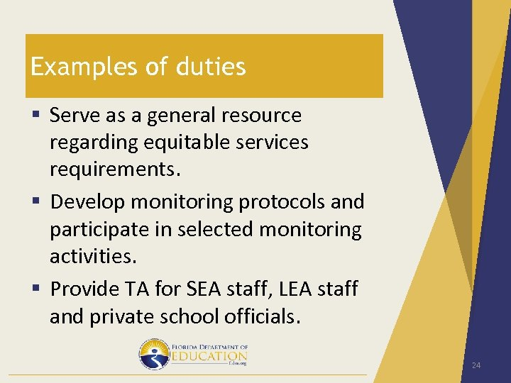 Examples of duties § Serve as a general resource regarding equitable services requirements. §