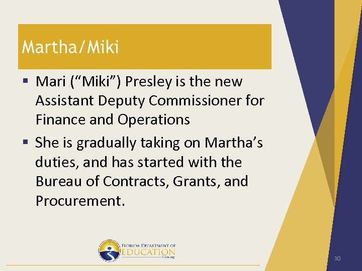 "Martha/Miki § Mari (""Miki"") Presley is the new Assistant Deputy Commissioner for Finance and"