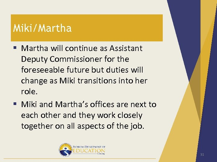 Miki/Martha § Martha will continue as Assistant Deputy Commissioner for the foreseeable future but