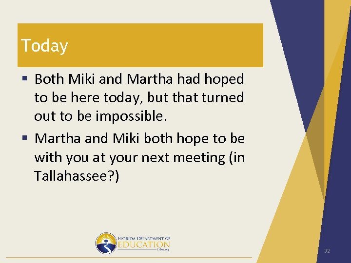 Today § Both Miki and Martha had hoped to be here today, but that