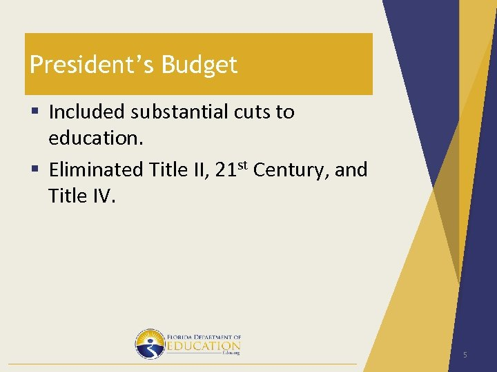 President's Budget § Included substantial cuts to education. § Eliminated Title II, 21 st