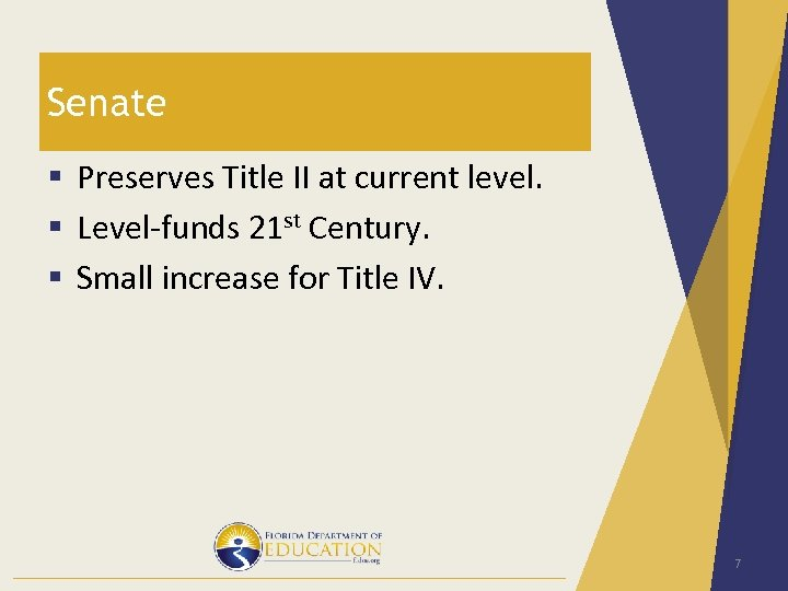 Senate § Preserves Title II at current level. § Level-funds 21 st Century. §