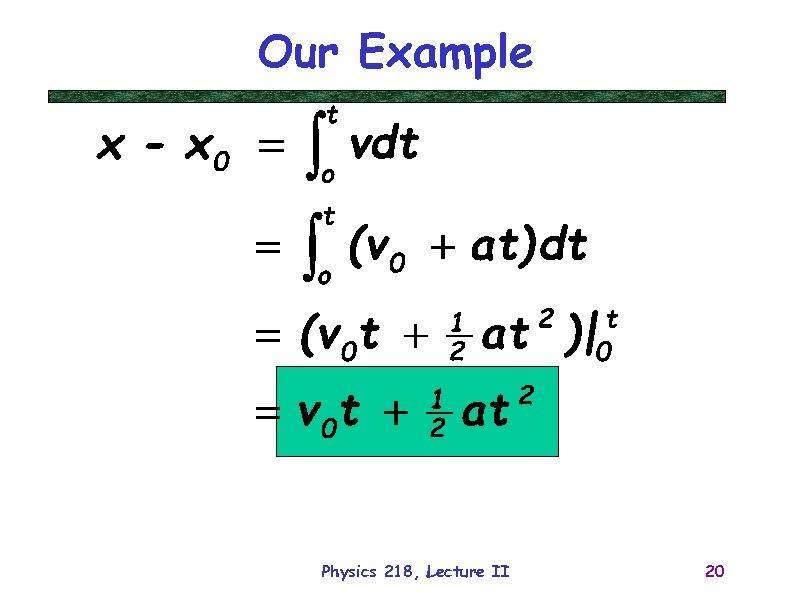 Our Example Physics 218, Lecture II 20