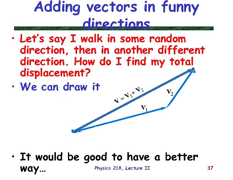 Adding vectors in funny directions • Let's say I walk in some random direction,