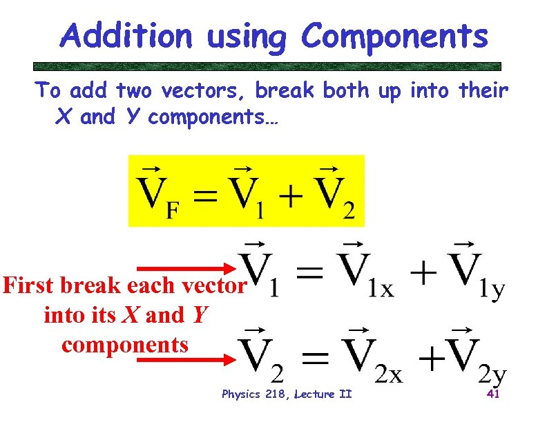 Addition using Components To add two vectors, break both up into their X and
