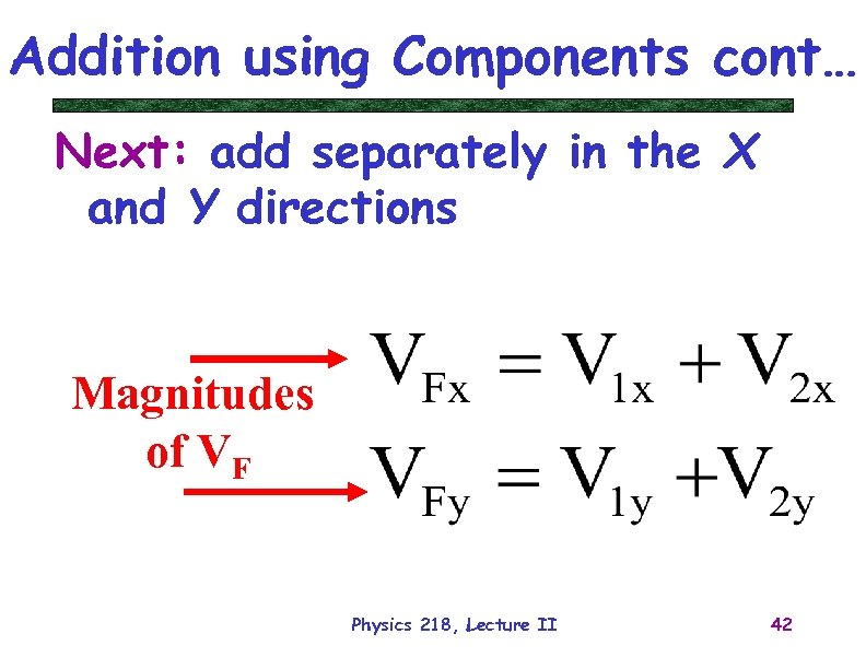 Addition using Components cont… Next: add separately in the X and Y directions Magnitudes