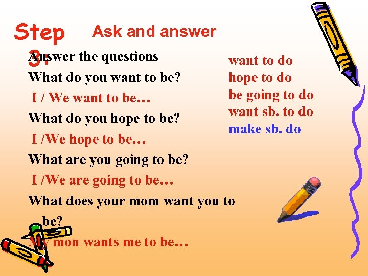 Step Ask and answer Answer 3: the questions want to do hope to do