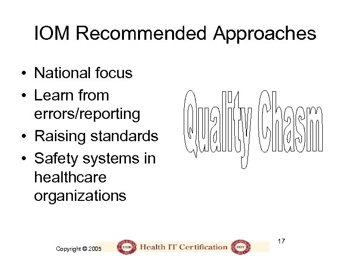 IOM Recommended Approaches • National focus • Learn from errors/reporting • Raising standards •