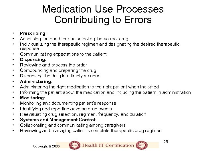 Medication Use Processes Contributing to Errors • • • • • Prescribing: Assessing the