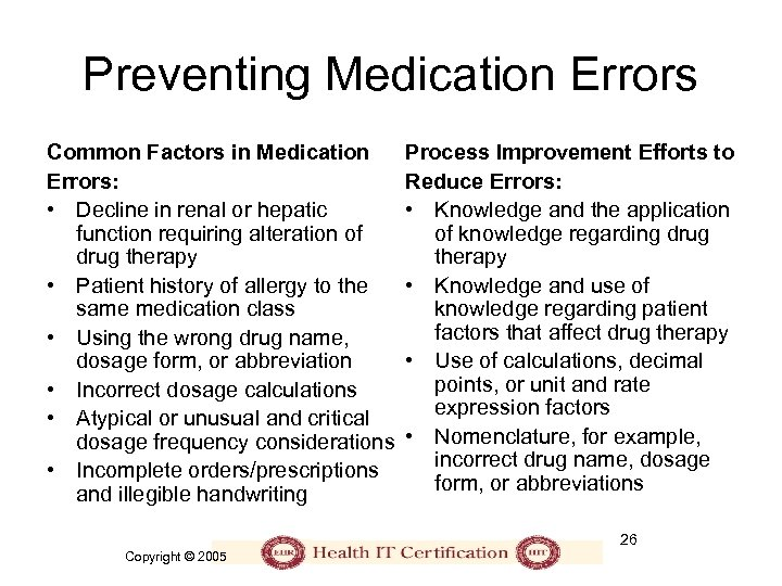 Preventing Medication Errors Common Factors in Medication Errors: • Decline in renal or hepatic