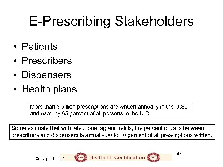 E-Prescribing Stakeholders • • Patients Prescribers Dispensers Health plans More than 3 billion prescriptions