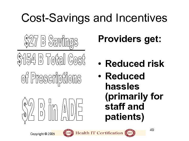 Cost-Savings and Incentives Providers get: • Reduced risk • Reduced hassles (primarily for staff
