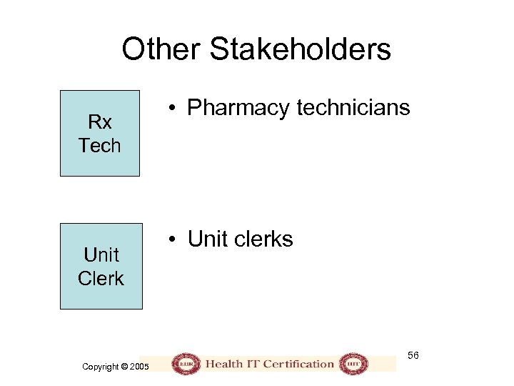 Other Stakeholders Rx Tech Unit Clerk • Pharmacy technicians • Unit clerks 56 Copyright