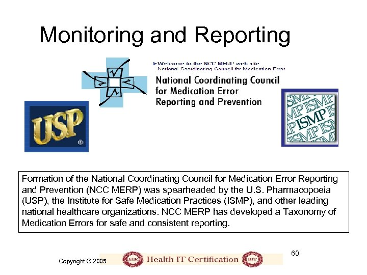 Monitoring and Reporting Formation of the National Coordinating Council for Medication Error Reporting and