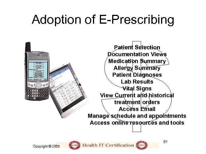 Adoption of E-Prescribing Patient Selection Documentation Views Medication Summary Allergy Summary Patient Diagnoses Lab
