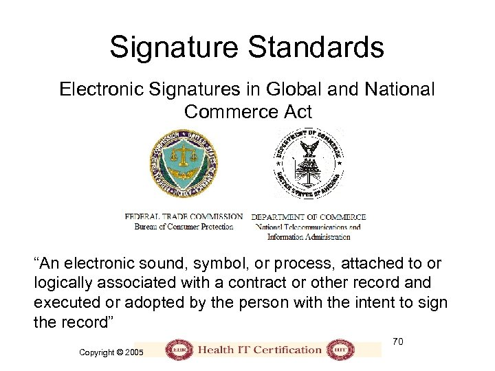 "Signature Standards Electronic Signatures in Global and National Commerce Act ""An electronic sound, symbol,"