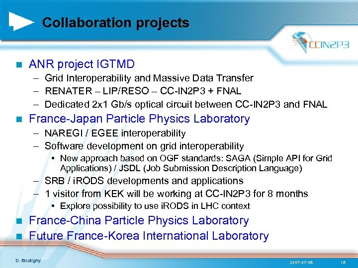 Collaboration projects n ANR project IGTMD – Grid Interoperability and Massive Data Transfer –