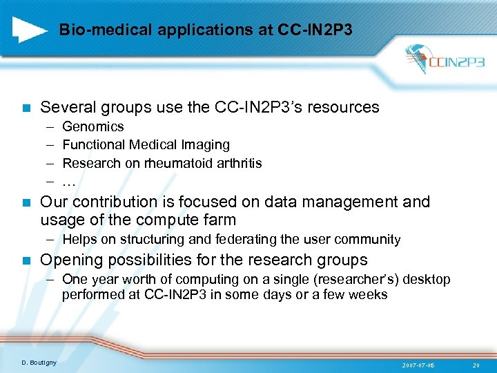 Bio-medical applications at CC-IN 2 P 3 n Several groups use the CC-IN 2