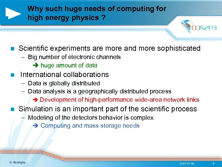 Why such huge needs of computing for high energy physics ? n Scientific experiments