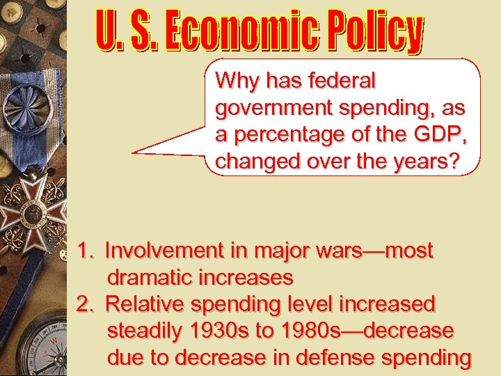 Why has federal government spending, as a percentage of the GDP, changed over the