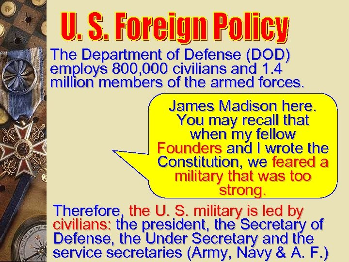 The Department of Defense (DOD) employs 800, 000 civilians and 1. 4 million members