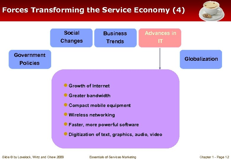 Forces Transforming the Service Economy (4) Social Changes Business Trends Advances in IT Government