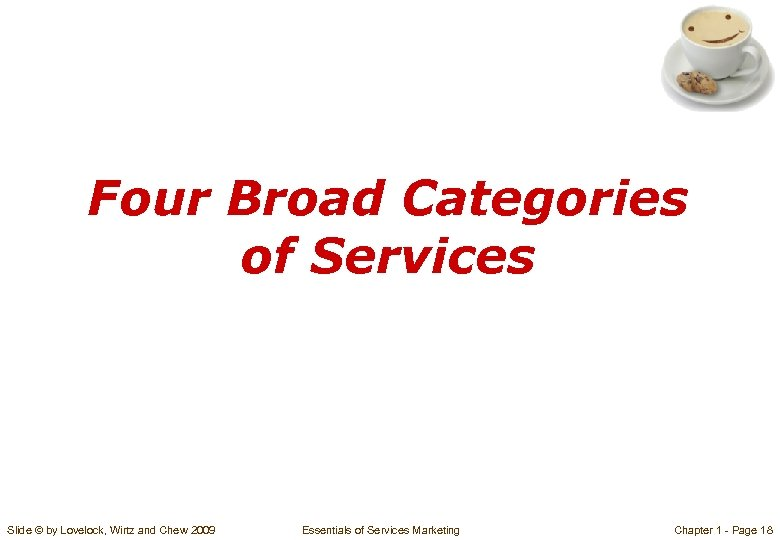 Four Broad Categories of Services Slide © by Lovelock, Wirtz and Chew 2009 Essentials