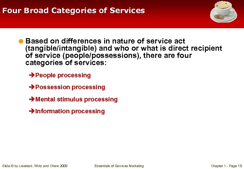 Four Broad Categories of Services = Based on differences in nature of service act