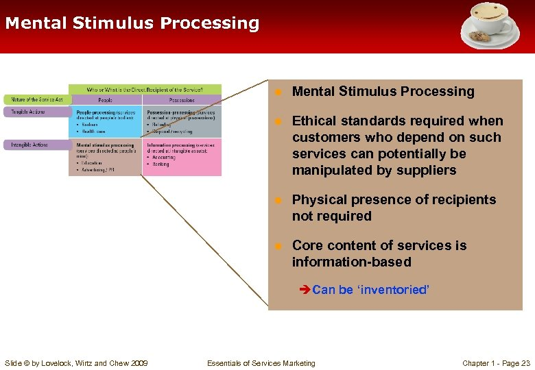 Mental Stimulus Processing ● Ethical standards required when customers who depend on such services