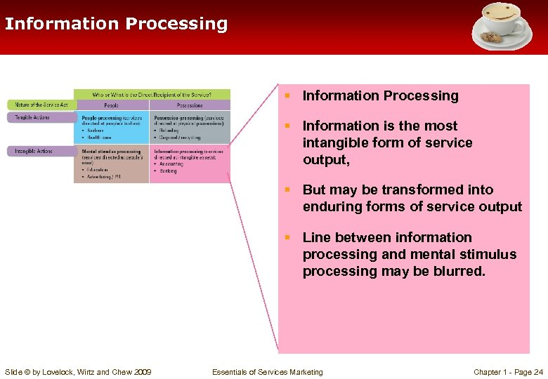 Information Processing § Information is the most intangible form of service output, § But