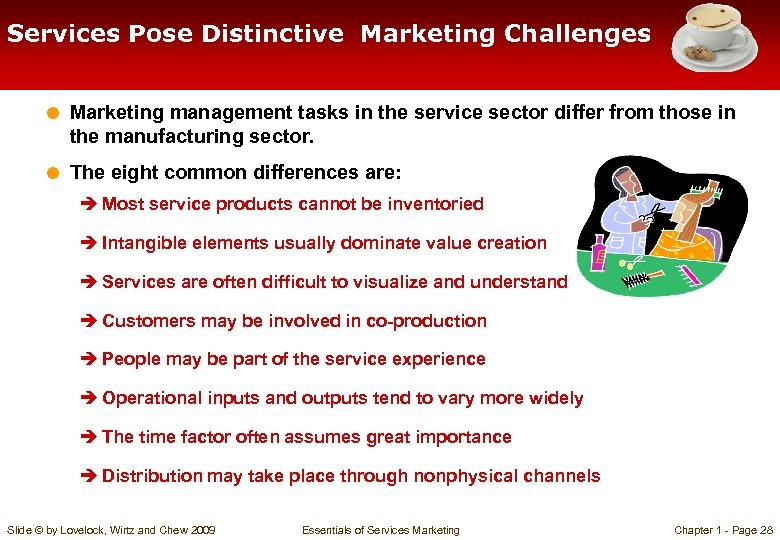 Services Pose Distinctive Marketing Challenges = Marketing management tasks in the service sector differ