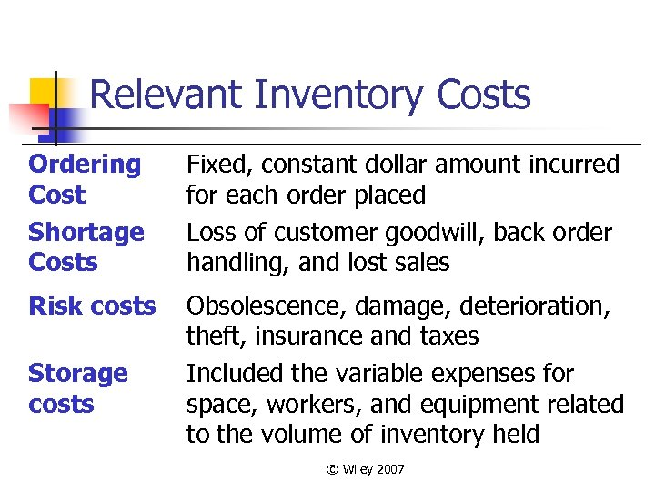 Relevant Inventory Costs Ordering Cost Shortage Costs Fixed, constant dollar amount incurred for each