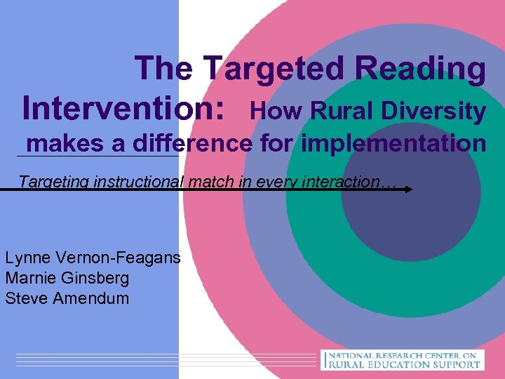 The Targeted Reading Intervention: How Rural Diversity makes a difference for implementation Targeting instructional