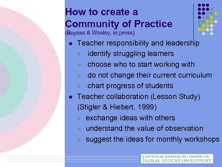 How to create a Community of Practice (Buysse & Wesley, in press) l l