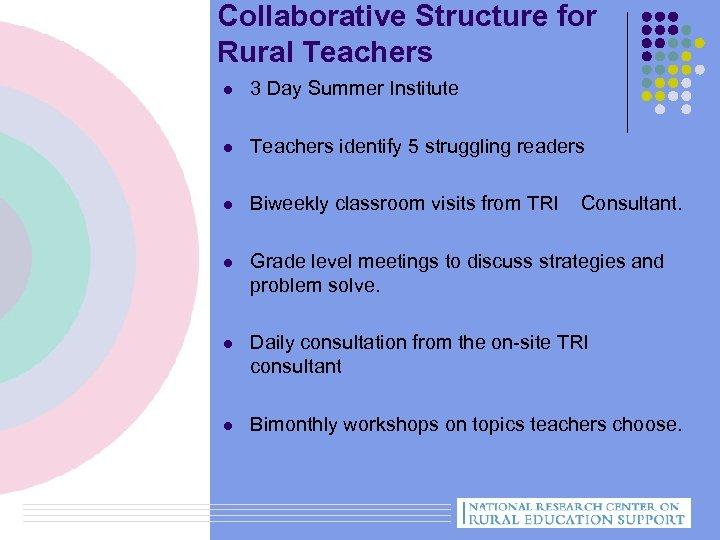 Collaborative Structure for Rural Teachers l 3 Day Summer Institute l Teachers identify 5