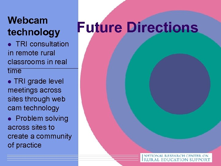 Webcam technology l TRI consultation in remote rural classrooms in real time l TRI