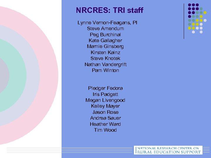 NRCRES: TRI staff Lynne Vernon-Feagans, PI Steve Amendum Peg Burchinal Kate Gallagher Marnie Ginsberg