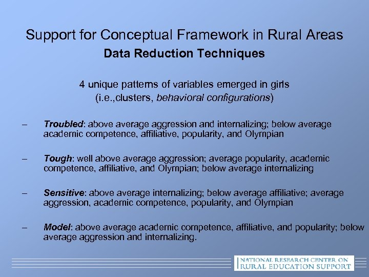 Support for Conceptual Framework in Rural Areas Data Reduction Techniques 4 unique patterns of