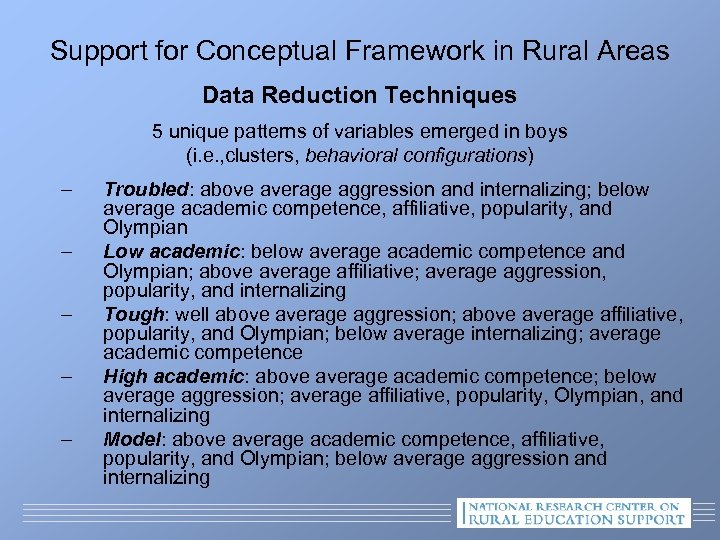 Support for Conceptual Framework in Rural Areas Data Reduction Techniques 5 unique patterns of