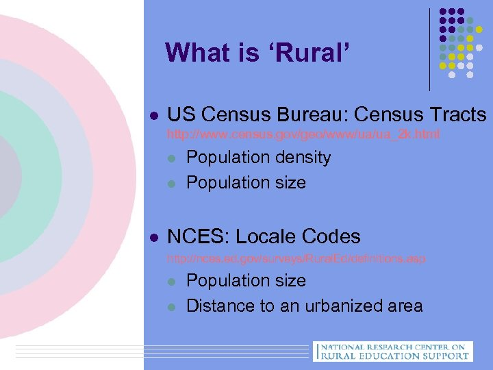 What is 'Rural' l US Census Bureau: Census Tracts http: //www. census. gov/geo/www/ua/ua_2 k.