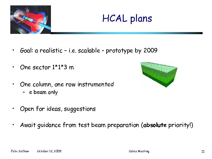 HCAL plans • Goal: a realistic – i. e. scalable – prototype by 2009