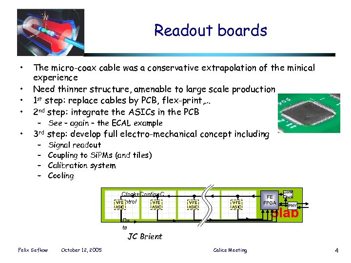Readout boards • • The micro-coax cable was a conservative extrapolation of the minical