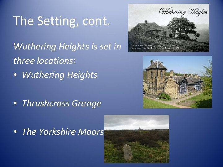 wuthering heights vs thrushcross grange - storm vs calm essay In the novel by emile bronte wuthering heights a strong contrast exist between storm and composure wuthering highs and thrusscross grange exemplify this construct as they are binary antonyms in the narrative where wuthering highs represents storm and thrusscross grangpe represents composure.
