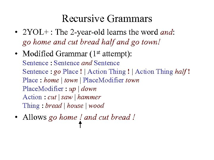 Recursive Grammars • 2 YOL+ : The 2 -year-old learns the word and: go