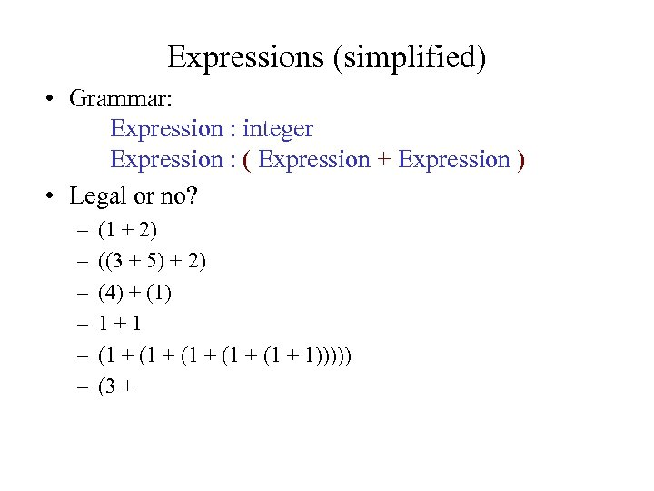 Expressions (simplified) • Grammar: Expression : integer Expression : ( Expression + Expression )